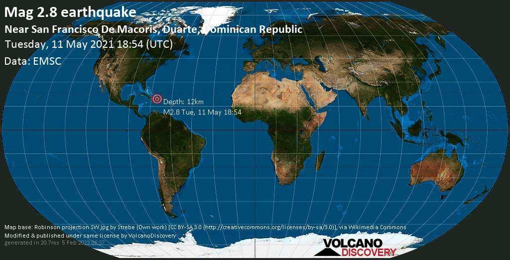 Sismo débil mag. 2.8 - 15 km NE of San Francisco de Macoris, Provincia Duarte, Dominican Republic, Tuesday, 11 May. 2021