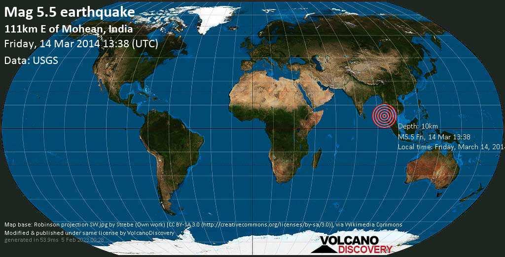 Moderates Erdbeben der Stärke 5.5 - 111km E of Mohean, India, am Freitag, 14. Mär 2014 um 13:38 GMT