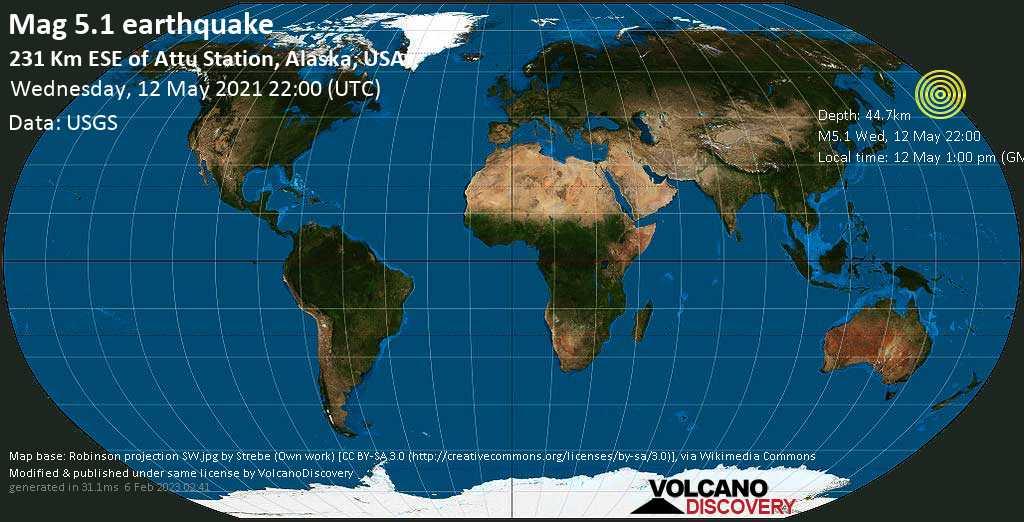 Moderate mag. 5.1 earthquake - Bering Sea, 144 mi southeast of Attu Station, Aleutians West, Alaska, USA, on 12 May 1:00 pm (GMT -9)