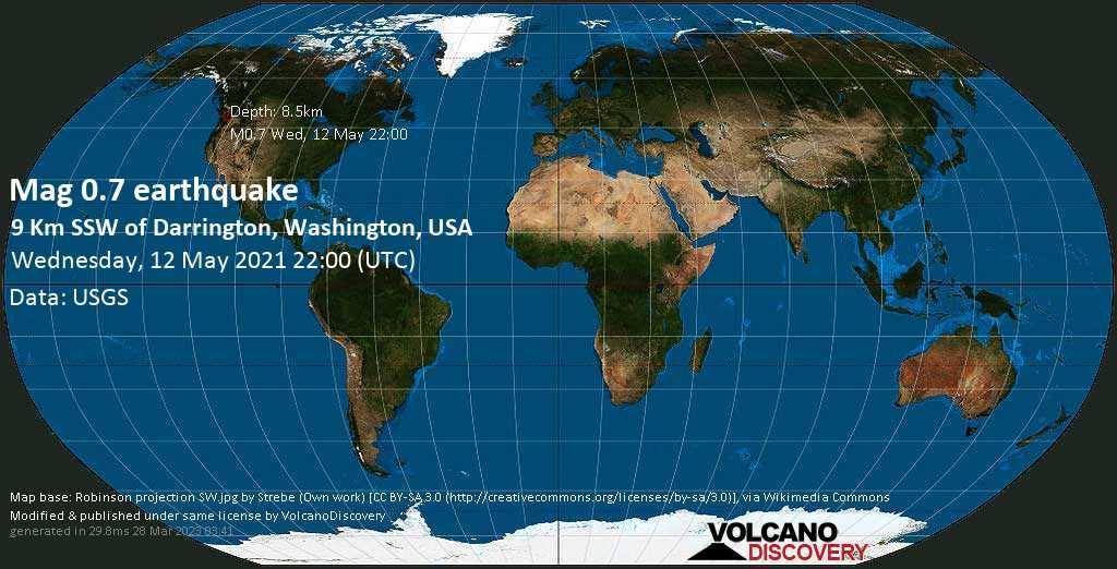 Sismo muy débil mag. 0.7 - 9 Km SSW of Darrington, Washington, USA, Wednesday, 12 May. 2021