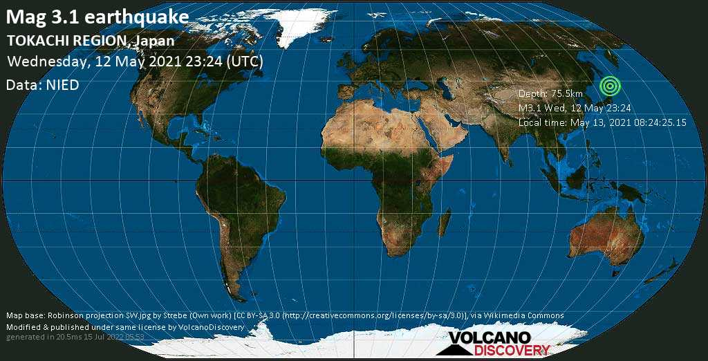 Minor mag. 3.1 earthquake - Nakagawa-gun, 45 km southeast of Obihiro, Hokkaido, Japan, on May 13, 2021 08:24:25.15