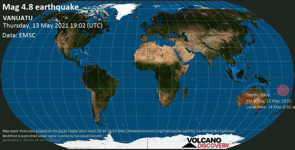 Moderate mag. 4.8 earthquake - Coral Sea, 34 km southwest of Malakula Island, Malampa Province, Vanuatu, on 14 May 6:02 am (GMT +11)