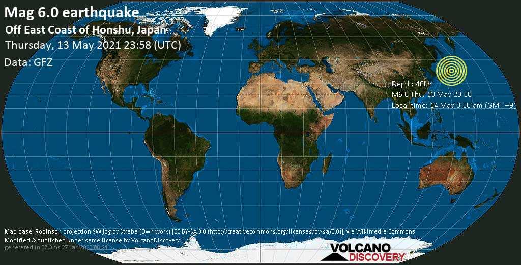 Starkes Magnitude 6.0 Erdbeben - Nordpazifik, 98 km südöstlich von Sendai, Präfektur Miyagi, Japan, am Donnerstag, 13. Mai 2021 um 23:58 GMT
