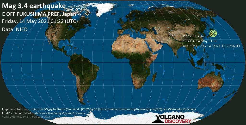Schwaches Erdbeben Stärke 3.4 - Nordpazifik, 89 km südöstlich von Ishinomaki, Präfektur Miyagi, Japan, am Freitag, 14. Mai 2021 um 01:22 GMT