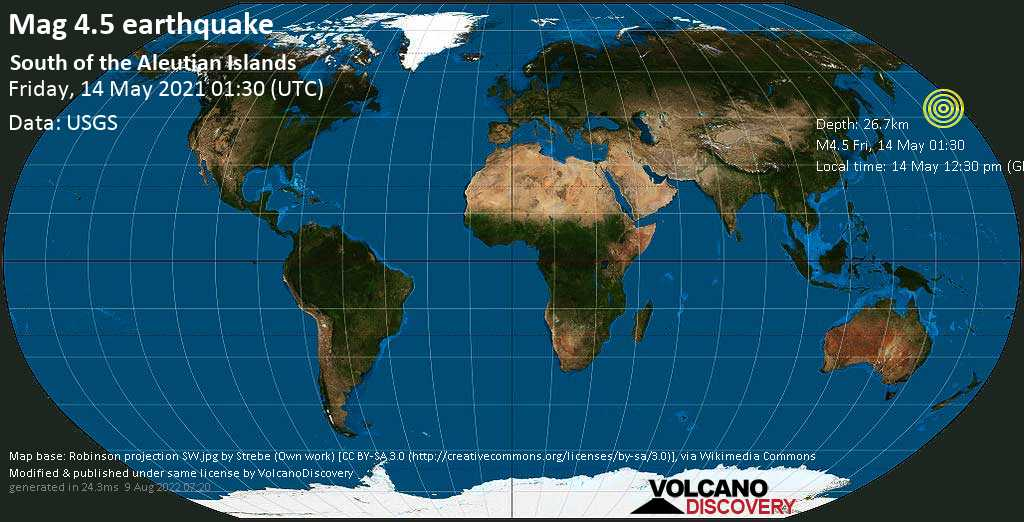 Moderate mag. 4.5 earthquake - North Pacific Ocean on 14 May 12:30 pm (GMT +11)