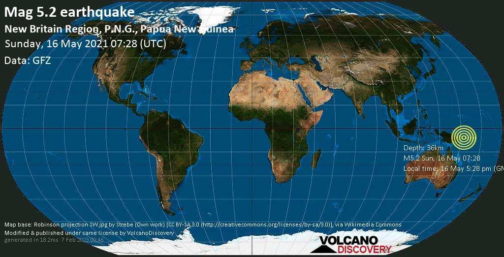 Terremoto moderado mag. 5.2 - Solomon Sea, 101 km E of New Britain Island, Papua New Guinea, domingo, 16 may. 2021