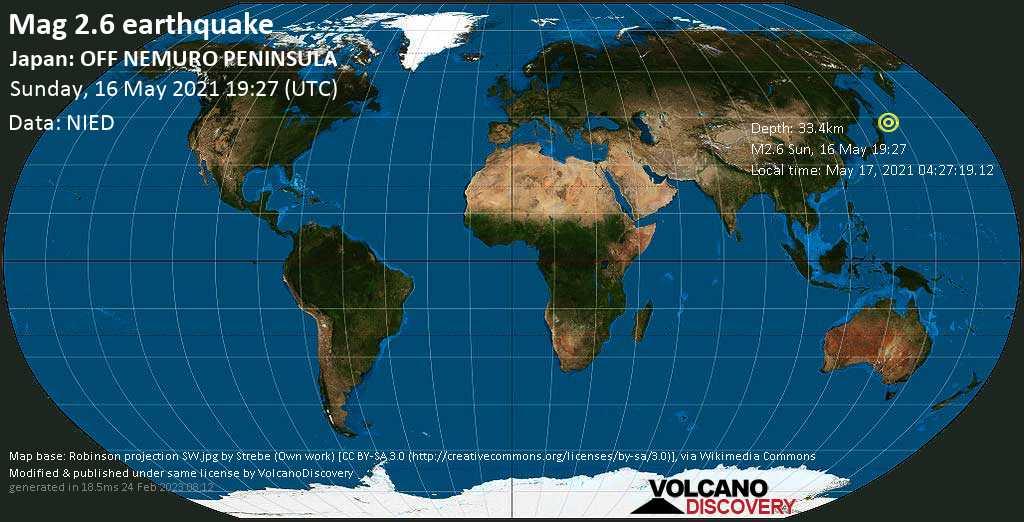 Sismo minore mag. 2.6 - North Pacific Ocean, 53 km a sud-est da Nemuro, Hokkaido, Giappone, domenica, 16 maggio 2021