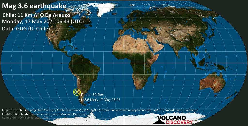 Light mag. 3.6 earthquake - 10.7 km west of Arauco, Region del Biobio, Chile, on Monday, May 17, 2021 at 06:43 (GMT)