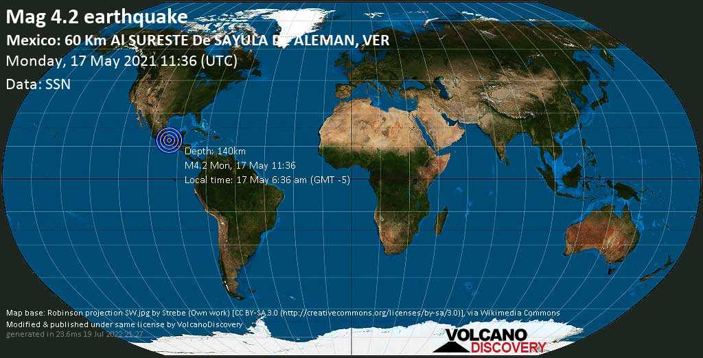 Light mag. 4.2 earthquake - Hidalgotitlan, 65 km south of Minatitlan, Veracruz, Mexico, on Monday, May 17, 2021 6:36 am (GMT -5)