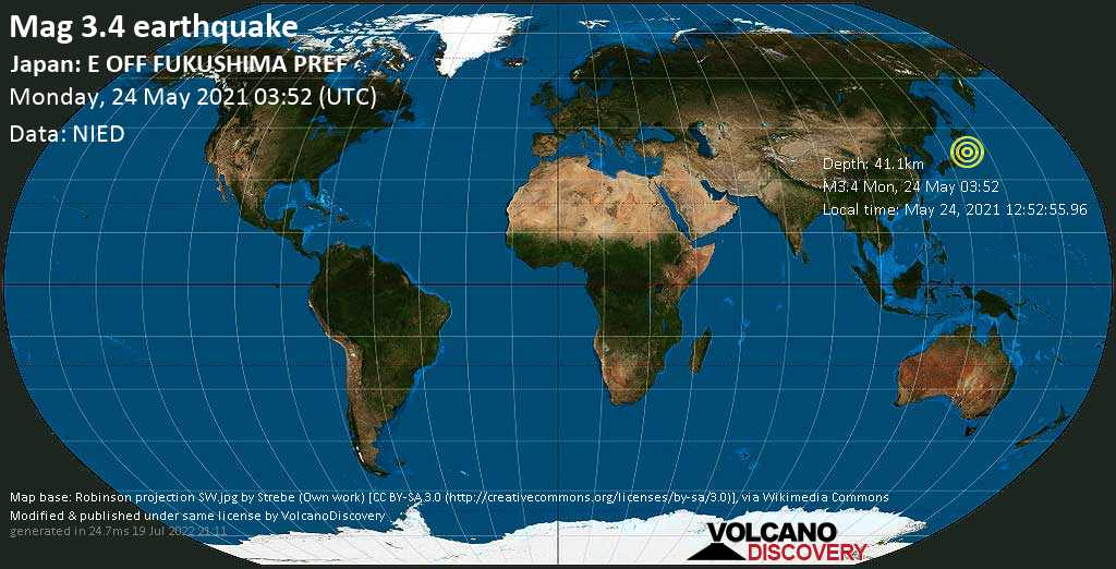 Sismo débil mag. 3.4 - North Pacific Ocean, 92 km SSE of Ishinomaki, Miyagi, Japan, Monday, 24 May. 2021