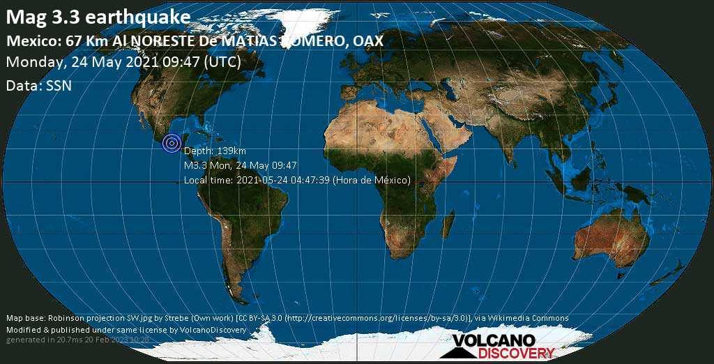 Minor mag. 3.3 earthquake - Hidalgotitlan, 21 km west of Poblado 10, Uxpanapa, Veracruz, Mexico, on 2021-05-24 04:47:39 (Hora de México)