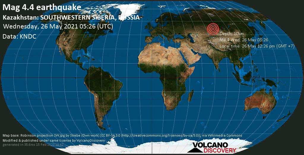 Terremoto moderado mag. 4.4 - Ust'-Kanskiy Rayon, Altai, 22 km ESE of Sentalek, Altai Krai, Russia, Wednesday, 26 May. 2021