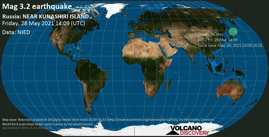 Minor mag. 3.2 earthquake - Sea of Okhotsk, 27 km west of Shikotan, Sakhalin Oblast, Russia, on May 28, 2021 23:09:24.05