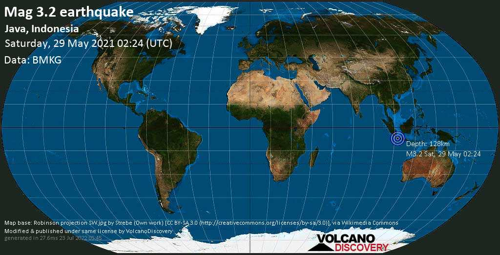 Minor mag. 3.2 earthquake - 26 km southwest of Sukabumi, West Java, Indonesia, on Saturday, 29 May 2021 at 02:24 (GMT)
