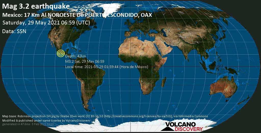 Schwaches Erdbeben Stärke 3.2 - 15 km nordwestlich von Puerto Escondido, Mexiko, am Samstag, 29. Mai 2021 um 06:59 GMT