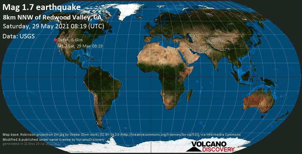 Minor mag. 1.7 earthquake - 8km NNW of Redwood Valley, CA, on Saturday, May 29, 2021 at 08:19 (GMT)