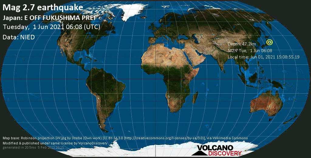 Sismo muy débil mag. 2.7 - North Pacific Ocean, 94 km SE of Sendai, Miyagi, Japan, martes, 01 jun. 2021