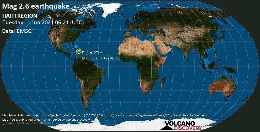 Minor mag. 2.6 earthquake - Caribbean Sea, 52 km southeast of Port au Prince, Haiti, on Tuesday, 1 June 2021 at 06:21 (GMT)