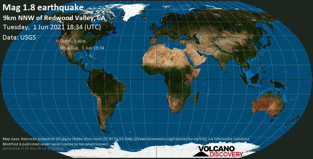Minor mag. 1.8 earthquake - 9km NNW of Redwood Valley, CA, on Tuesday, 1 June 2021 at 18:34 (GMT)