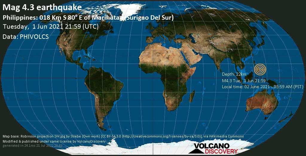 Moderate mag. 4.3 earthquake - Philippine Sea, 45 km southeast of Tandag City, Philippines, on Wednesday, Jun 2, 2021 5:59 am (GMT +8)