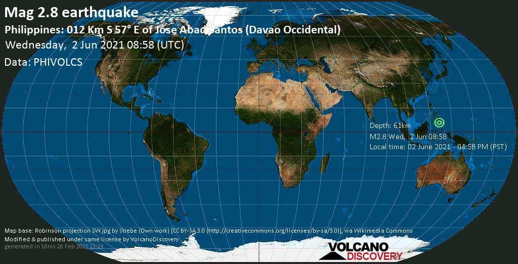 Sehr schwaches Beben Stärke 2.8 - Philippines Sea, 13 km südöstlich von Caburan, Davao Occidental, Philippinen, am Mittwoch,  2. Jun 2021 um 08:58 GMT
