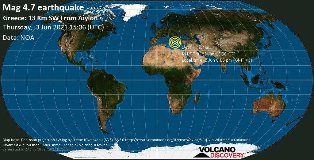 Light mag. 4.7 earthquake - 29 km east of Patras, Achaea, West Greece, on 3 Jun 6:06 pm (GMT +3)