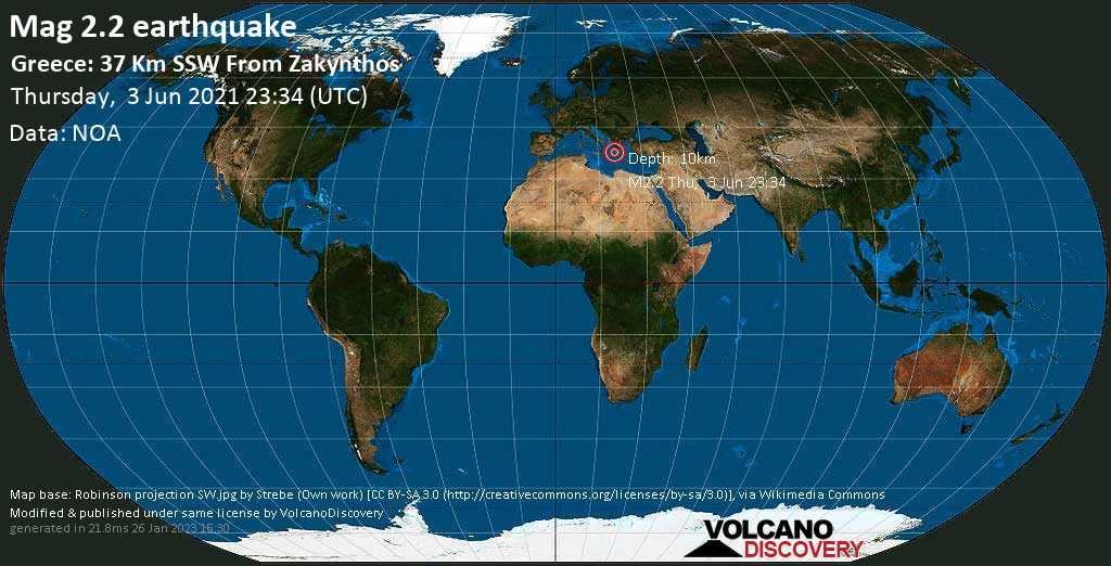 Sismo debile mag. 2.2 - Mare Ionio, 37 km a sud ovest da Zacinto, Nomos Zakýnthou, Isole Ionie, Grecia, giovedì, 03 giu. 2021 23:34