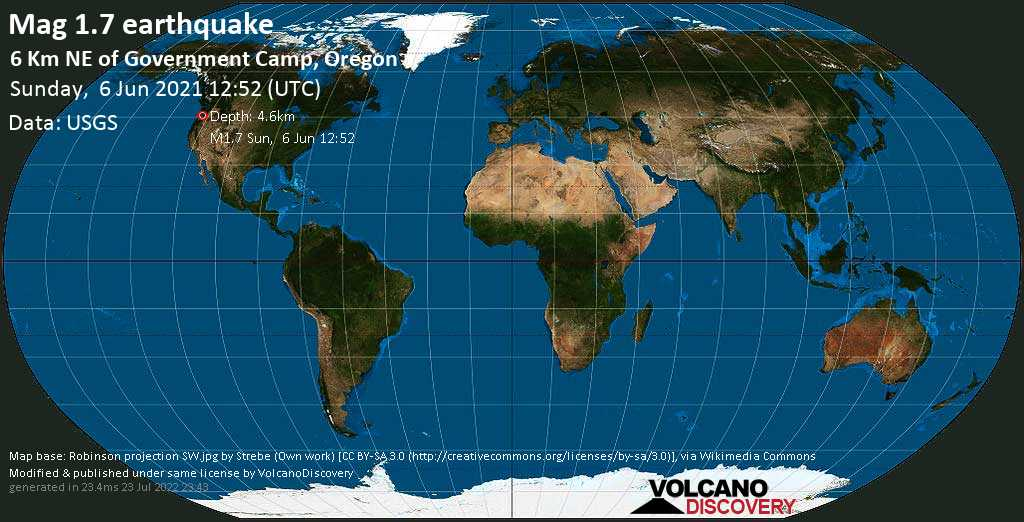 Minor mag. 1.7 earthquake - 6 Km NE of Government Camp, Oregon, on Sunday, 6 June 2021 at 12:52 (GMT)