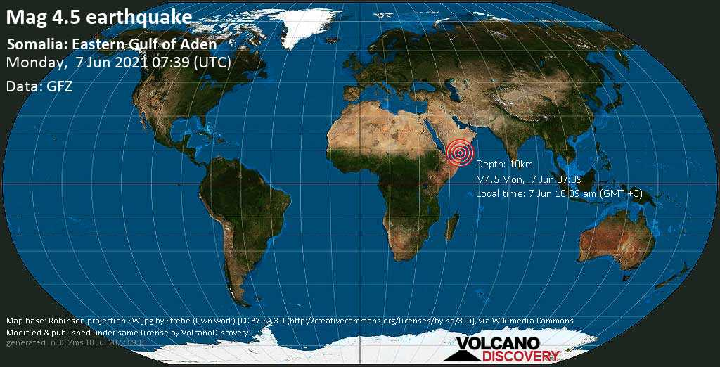 Moderate mag. 4.5 earthquake - Golf von Aden, 274 km northeast of Bosaso, Bari, Somalia, on 7 Jun 10:39 am (GMT +3)