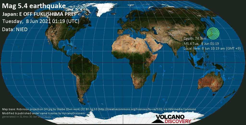 Terremoto moderado mag. 5.4 - North Pacific Ocean, 88 km SE of Sendai, Miyagi, Japan, Tuesday, 08 Jun. 2021
