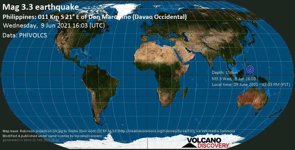 Sehr schwaches Beben Stärke 3.3 - Philippines Sea, 36 km südlich von Malita, Davao Occidental, Philippinen, am Mittwoch,  9. Jun 2021 um 16:03 GMT