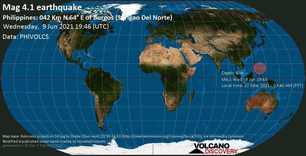 Moderate mag. 4.1 earthquake - Philippine Sea, 46 km northeast of Santa Monica, Philippines, on 10 June 2021 - 03:46 AM (PST)