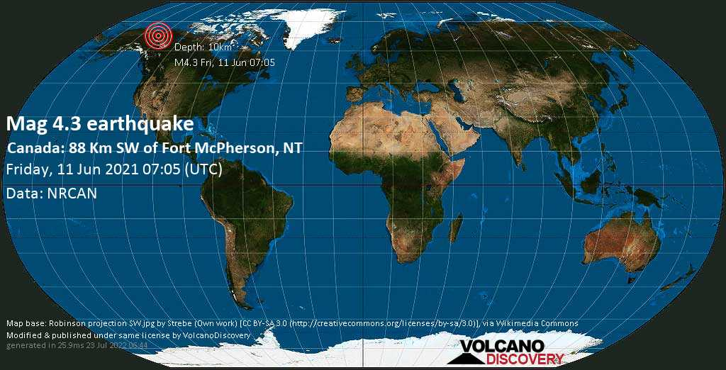 Moderate mag. 4.3 earthquake - Yukon, 88 km southwest of Fort McPherson, Inuvik Region, Northwest Territories, Canada, on Friday, 11 June 2021 at 07:05 (GMT)