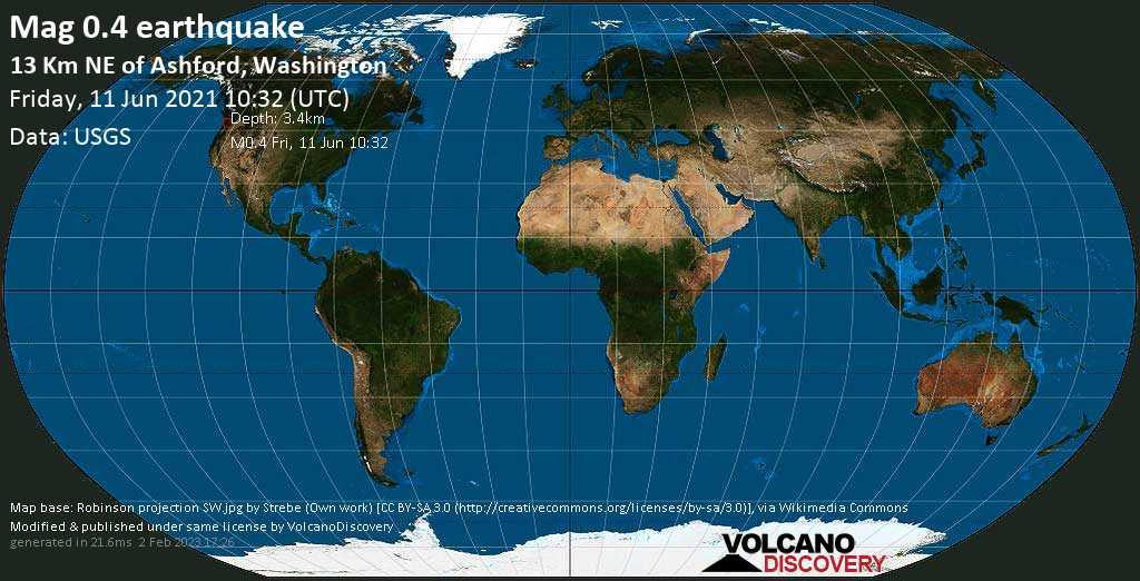 Minor mag. 0.4 earthquake - 13 Km NE of Ashford, Washington, on Friday, 11 June 2021 at 10:32 (GMT)
