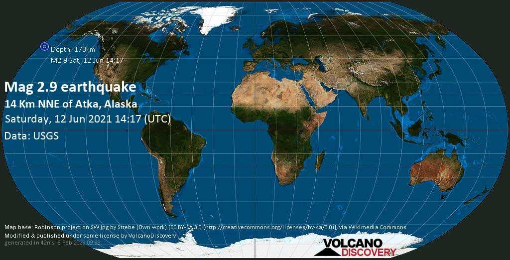 Sismo muy débil mag. 2.9 - Aleutians West Parish, 9.3 miles NNE of Atka, Aleutians West, Alaska, USA, sábado, 12 jun. 2021
