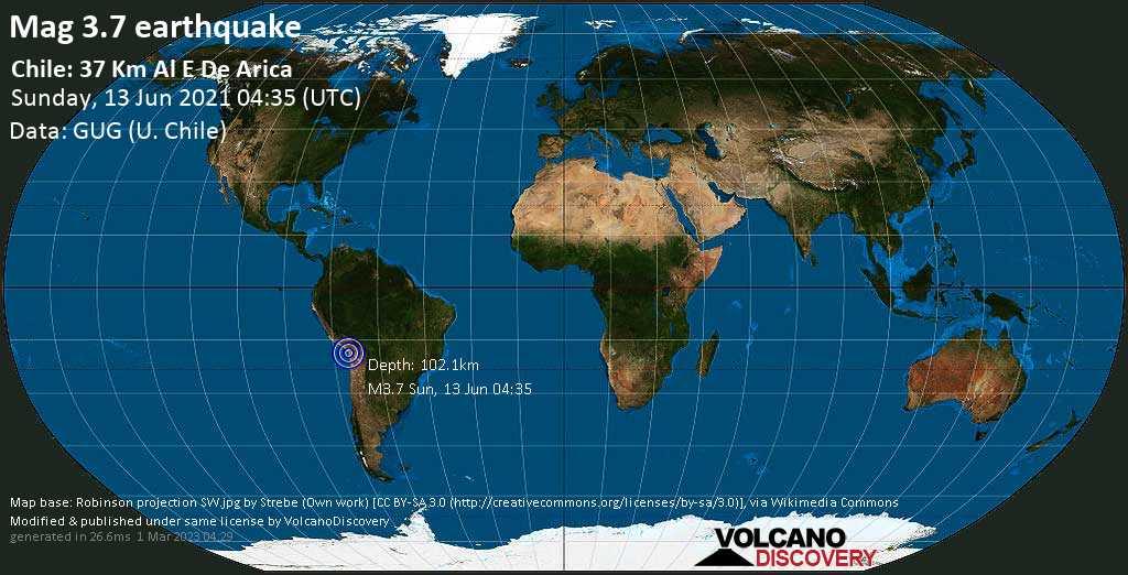 Sismo debile mag. 3.7 - 35 km a est da Arica, Arica y Parinacota, Cile, domenica, 13 giu. 2021 04:35