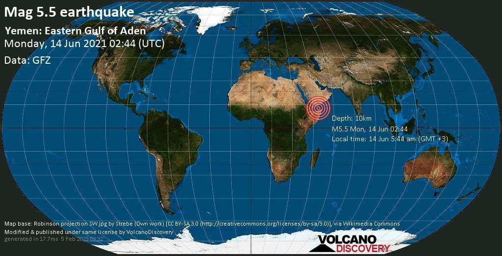 Strong mag. 5.5 earthquake - Golf von Aden, 211 km south of Mukalla, Hadramaout, Yemen, on 14 Jun 5:44 am (GMT +3)