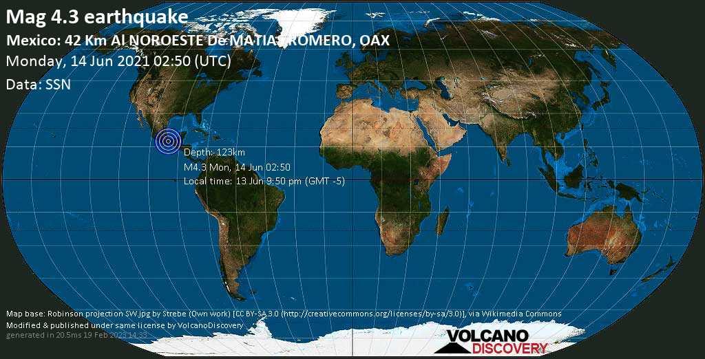 Terremoto leve mag. 4.3 - 41 km NNW of Matias Romero, Oaxaca, Mexico, Monday, 14 Jun. 2021