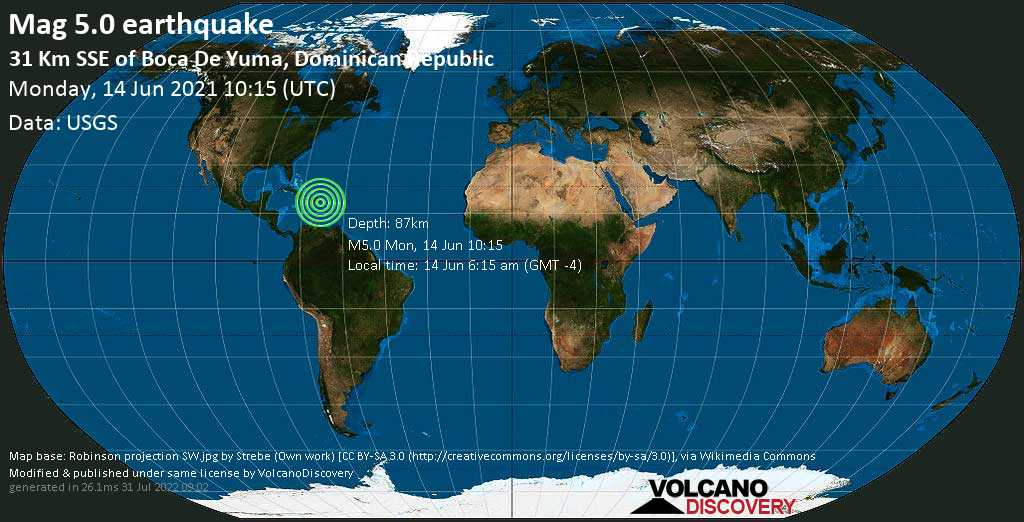 Moderate mag. 5.0 earthquake - Caribbean Sea, 59 km southeast of Higuey, Dominican Republic, on 14 Jun 6:15 am (GMT -4)
