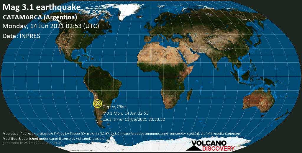 Schwaches Erdbeben Stärke 3.1 - Departamento de Capayan, 44 km westlich von San Fernando del Valle de Catamarca, Departamento de Capital, Catamarca, Argentinien, am Montag, 14. Jun 2021 um 02:53 GMT