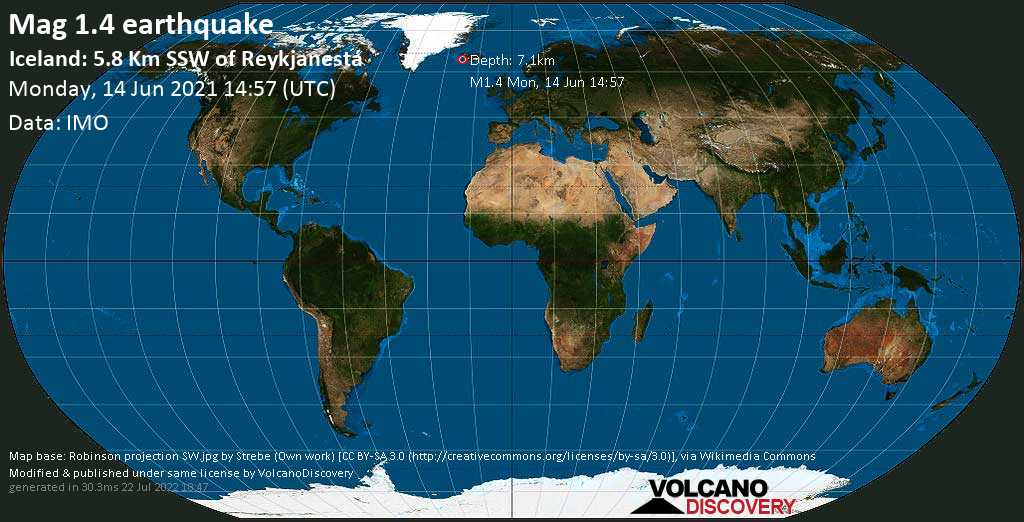 Minor mag. 1.4 earthquake - Iceland: 5.8 Km SSW of Reykjanestá on Monday, 14 June 2021 at 14:57 (GMT)