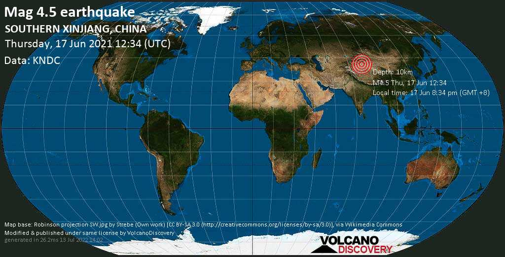 Moderate mag. 4.5 earthquake - 194 km southwest of Korla, Xinjiang, China, on 17 Jun 8:34 pm (GMT +8)