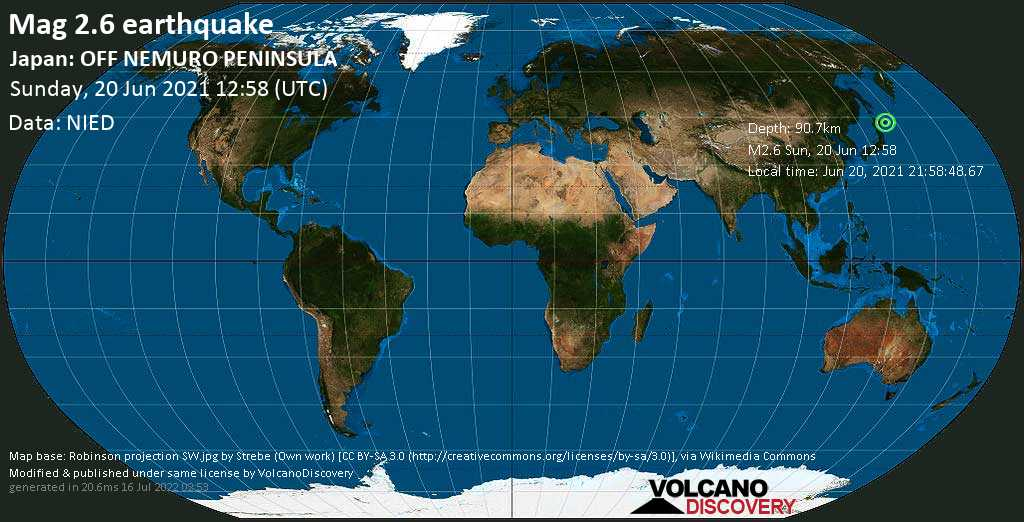 Sismo muy débil mag. 2.6 - North Pacific Ocean, 41 km E of Kushiro, Hokkaido, Japan, Sunday, 20 Jun. 2021
