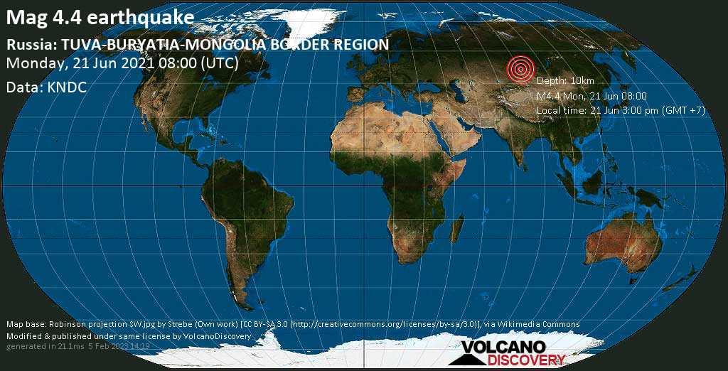 Moderate mag. 4.4 earthquake - 54 km southwest of Ak-Dovurak, Republic of Tyva, Russia, on 21 Jun 3:00 pm (GMT +7)