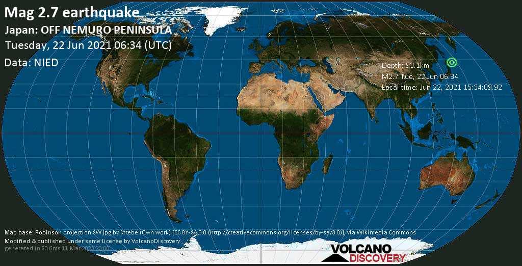 Sismo muy débil mag. 2.7 - North Pacific Ocean, 18 km S of Nemuro, Hokkaido, Japan, Jun 22, 2021 15:34:09.92