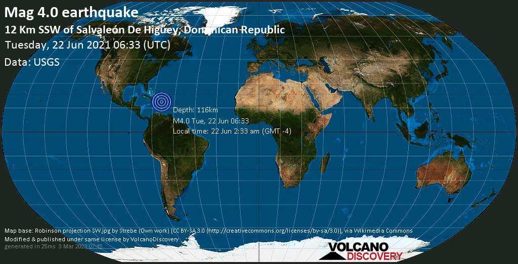 Sismo leggero mag. 4.0 - San Rafael del Yuma, 13 km a sud ovest da Higuey, Repubblica Dominicana, martedí, 22 giugno 2021