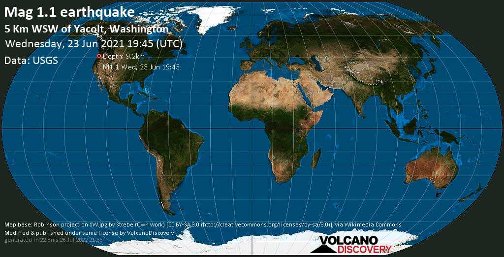 Minor mag. 1.1 earthquake - 5 Km WSW of Yacolt, Washington, on Wednesday, 23 June 2021 at 19:45 (GMT)