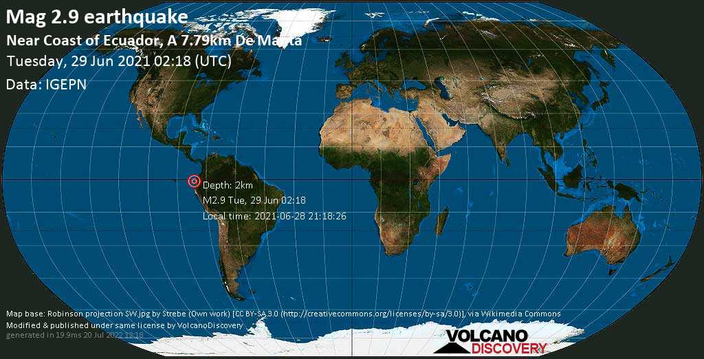 Sismo leggero mag. 2.9 - South Pacific Ocean, 7.1 km a nord da Manta, Provincia de Manabi, Ecuador, 2021-06-28 21:18:26
