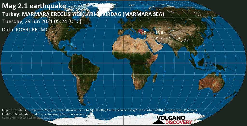 Sismo muy débil mag. 2.1 - Sea of Marmara, 41 km ESE of Tekirdağ, Turkey, martes, 29 jun. 2021 05:24