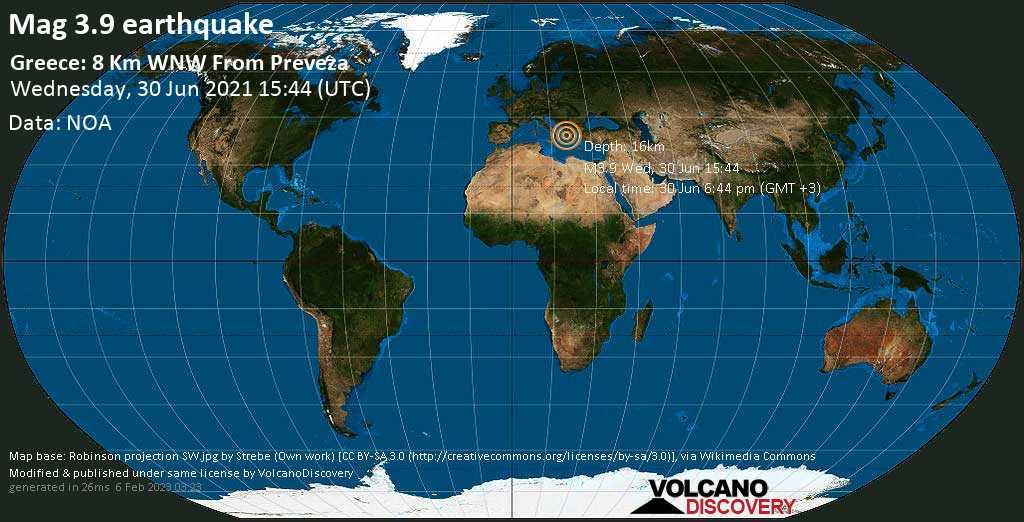 Light mag. 3.9 earthquake - Ionian Sea, 7.8 km west of Preveza, Nomos Prevézis, Epirus, Greece, on 30 Jun 6:44 pm (GMT +3)